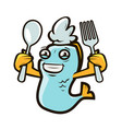 happy fish holding spoon and fork seafood label vector image vector image