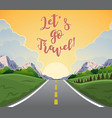 highway drive with beautiful sunrise landscape vector image vector image