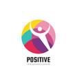 human character in colored circle - creative logo vector image