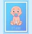 it boy poster newborn toddler with pacifier vector image vector image