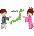 japanese couple wearing traditional costume vector image vector image