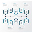 job icons line style set with job seeker contract vector image