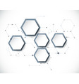 molecule with 3d paper label hexagon background vector image vector image