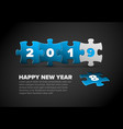 new year card made from blue and white puzzle vector image vector image