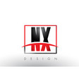 nx n x logo letters with red and black colors and vector image vector image