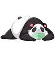 panda cartoon character wearing mask vector image vector image