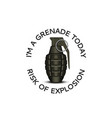 realistic hand grenade 3d with slogan text vector image