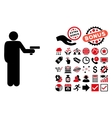 Robber With Gun Flat Icon with Bonus vector image vector image