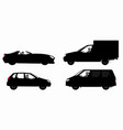 set cars silhouettes vector image vector image