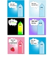 Six funny condom set vector image