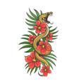 tattoo snake in flowers and green grass vector image vector image