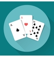 Three Playing Cards Long shadow icon vector image vector image