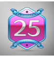Twenty five years anniversary celebration silver vector image vector image