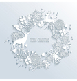 White Merry Christmas wreath greeting card vector image vector image