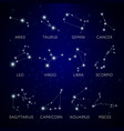 constellation stars zodiac signs in space vector image