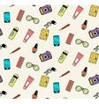 Seamless pattern of woman handbag contents vector image