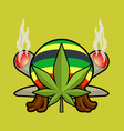 rasta logo cannabis leaf and joint or spliff vector image