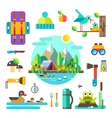 Set of hike elements and icons Flat vector image