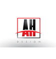 ah a h logo letters with red and black colors vector image vector image