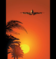 airliner on sunset sky vector image