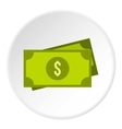 American dollars icon flat style vector image vector image