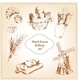 Bakery hand drawn icons set vector image vector image