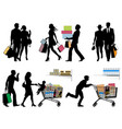 black friday several people pre-holiday fever vector image vector image