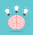 brain with three lightbulbs vector image vector image