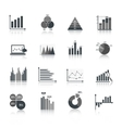 Business chart icons set vector image