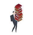 businessman carry stack books boss and lot of vector image