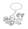 Cartoon Boy Reading vector image vector image