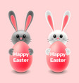 cartoon easter two rabbits behind eggs isolated vector image