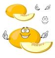 Cartoon yellow melon fruit with slice vector image vector image