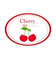 cherry label disign isolated on white vector image vector image
