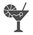 cocktail solid icon bar vector image