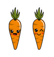 color kawaii happy and funny carrots icon vector image vector image
