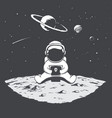 cute astronaut playing on a smartphone vector image