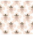 cute teddy bears on floral pink pattern background vector image vector image