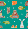 cute wild ethnic patterned animals seamless vector image