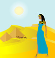 Egyptian background with ancient woman and vector image vector image