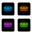 glowing neon sofa icon isolated on white vector image
