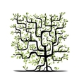 Green tree square shape for your design vector image
