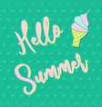 hello summer lettering and ice cream cone on polka vector image