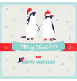 holiday greeting postcard with penguins vector image vector image