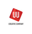 initial letter uu logo template design vector image vector image