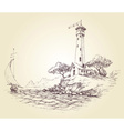 Lighthouse drawing seascape and sailboat at sea vector image vector image