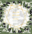 luxury marble wedding invitation card with olive vector image vector image