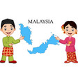 malaysia couple wearing traditional costume vector image