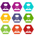 male chef cook icon set color hexahedron vector image vector image