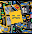 metro station elements set seamless patterns vector image